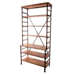 Pipe Works Reclaimed Wood Industrial Pipe Tall Bookcase
