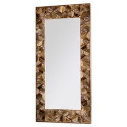 Piper Lodge Vintage Wood Mosaic Iron Floor Mirror | Kathy Kuo Home