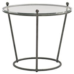 Pixie Industrial Loft Round Clear Glass Black Metal End Table | Kathy Kuo Home