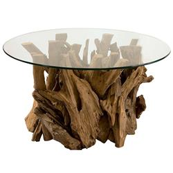 Plymouth Coastal Beach Teak Driftwood Round Glass Coffee Table | Kathy Kuo Home