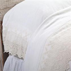 Pom Pom French Country Annabelle Flat Sheet - Cream Queen | Kathy Kuo Home