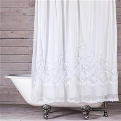 Pom Pom French Country Caprice Shower Curtain - White | Kathy Kuo Home