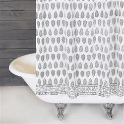 Pom Pom French Country Kiara Shower Curtain - Black White | Kathy Kuo Home
