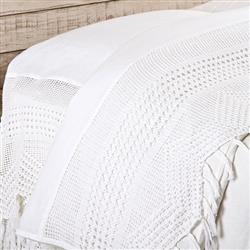 Pom Pom French Country Vintage Crochet Flat Sheet - White Queen | Kathy Kuo Home