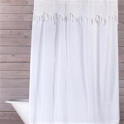 Pom Pom French Country Vintage Crochet Shower Curtain - White | Kathy Kuo Home