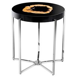Pompidou Modern Classic Petrified Wood Round Side End Table | Kathy Kuo Home