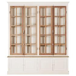 Portes Antique French Country 4 Door White Pine Cabinet Curio | Kathy Kuo Home