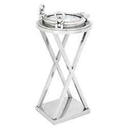 Porthole HMS Victory Modern Classic Nickel Round Side End Table | Kathy Kuo Home
