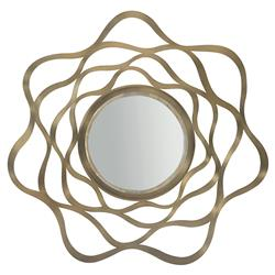 Portia Hollywood Regency Gold Finished Round Steel Wall Mirror | Kathy Kuo Home