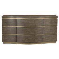 Portia Hollywood Regency Gold Trim Walnut 9 Curved Drawer Dresser | Kathy Kuo Home