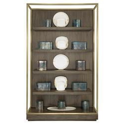 Portia Hollywood Regency Walnut Gold Trim 4 Shelved Etagere Display Bookcase | Kathy Kuo Home