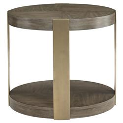 Portia Hollywood Regency Walnut Veneer Steel Gold Finished Round Side End Table | Kathy Kuo Home