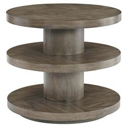 Portia Hollywood Regency Walnut Veneer Tiered 2 Shelved Round Side End Table | Kathy Kuo Home