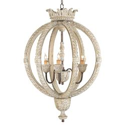 Posay Ornate White Wash Gustavian 3 Light Round Ceiling Pendant | Kathy Kuo Home
