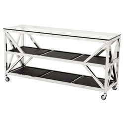 Prado Modern Classic Glass Top Faux Leather Rectangular 2 Shelf Console Table | Kathy Kuo Home