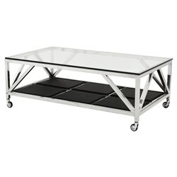 Prado Modern Classic Glass Top Faux Leather Rectangular Wheeled Coffee Table | Kathy Kuo Home