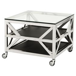 Prado Modern Classic Polished Stainless Tiered Square Side End Table | Kathy Kuo Home
