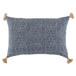Priva Global Bazaar Indigo Tassel Lumbar Pillow - 13x19 | Kathy Kuo Home
