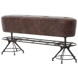 Pullman Industrial Loft Brown Leather Black Iron Counter Bench | Kathy Kuo Home