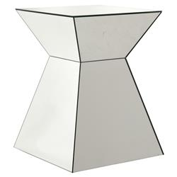 Pyramid Modern Classic Mirrored Glass Rectangular Side End Table | Kathy Kuo Home