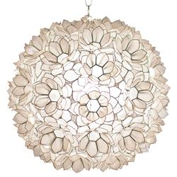 Quest Coastal Beach Capiz Lotus Pendant | Kathy Kuo Home