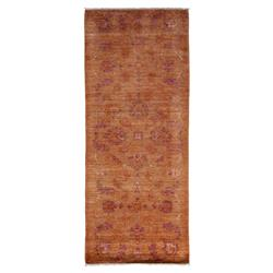 Quiana Warm Rust Violet Medallion Oushak Wool Rug - 3'4 x 8 | Kathy Kuo Home