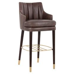 Quimby Modern Classic Brown Faux Leather Channel Back Bar Stool | Kathy Kuo Home