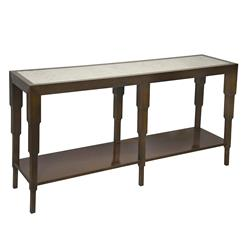Quincy Hollywood Regency Antiqued Mirror Brown Console Table | Kathy Kuo Home