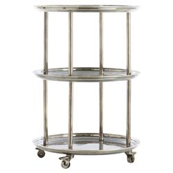 Quint Classic Vintage Silver Round Bar Cart | Kathy Kuo Home