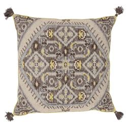Quira Global Tassel Grey Beige Floor Pillow - 30x30 | Kathy Kuo Home