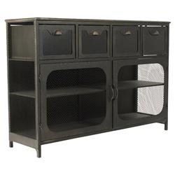 Quirrel Loft Rustic Black Iron Console Cabinet | Kathy Kuo Home