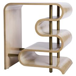 Rachael Modern Satin Brass Cream Side End Table | Kathy Kuo Home