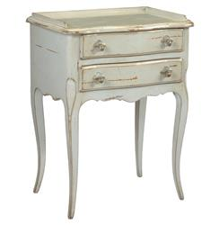 Racine French Country Cherry Wood Grey Nightstand | Kathy Kuo Home