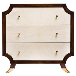 Radiant Burst Hollywood Regency Cream Bone Inlay Brown Nightstand | Kathy Kuo Home