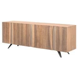Raine Rustic Vertical Stria Raw Wood Sideboard Buffet - 78.75W | Kathy Kuo Home