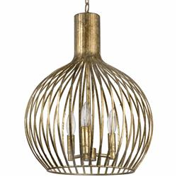 Rajah Hollywood Regency Antique Gold Metal 3 Light Cage Pendant | Kathy Kuo Home