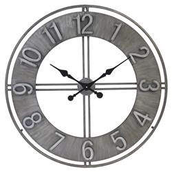 Randal Industrial Loft Grey Iron Wall Clock | Kathy Kuo Home