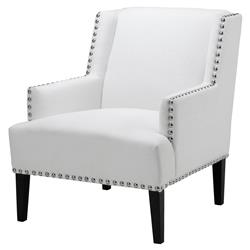 Randall Modern Classic Nickel Nailhead Trim White Upholstered Club Chair | Kathy Kuo Home