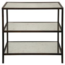 Randy Modern Black Metal Antiqued Mirror Shelf 3-Tier Side Table | Kathy Kuo Home