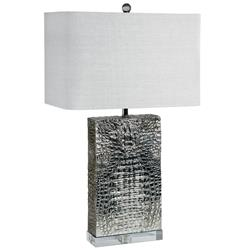 Rashida Hollywood Regency Silver Crocodile Table Lamp | Kathy Kuo Home