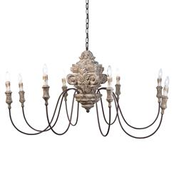 Ravel French Country Carved Wood 8 Light Chandelier | Kathy Kuo Home