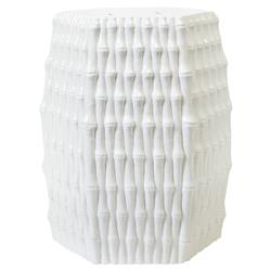 Ravi Global Bazaar White Porcelain Bamboo Stool | Kathy Kuo Home