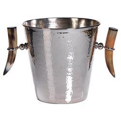 Rayburn Modern Classic Tusk Footed Hammered Polished Ice Bucket | Kathy Kuo Home