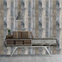 Reclaimed Wood Industrial Loft Multi-Colored Removable Wallpaper | Kathy Kuo Home
