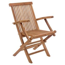 Reena Modern Classic Solid Teak Wood Outdoor Dining Arm Chair | Kathy Kuo Home