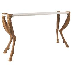 Regency Gold Fauna White Marble Console Table | Kathy Kuo Home
