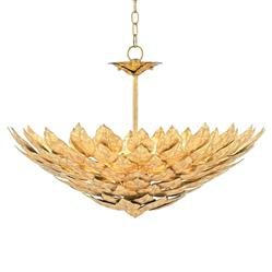 Regency Rustic Leaves Gold Leaf Chandelier | Kathy Kuo Home