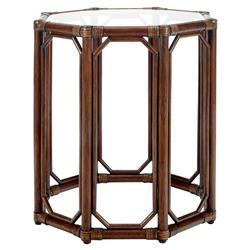 Rema Global Regeant Rattan Octogon End Table - Brown | Kathy Kuo Home