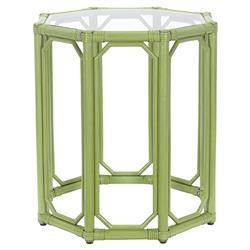 Rema Global Regeant Rattan Octogon End Table - Green | Kathy Kuo Home