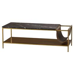Resource Decor Copeland Mid Century Leather Black Marble Walnut Coffee Table | Kathy Kuo Home